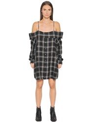 R 13 Off Shoulder Plaid Cotton Flannel Dress