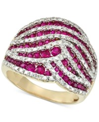 Rare Featuring Gemfields Certified Ruby 1 1 4 Ct. T.W. And Diamond 1 4 Ct. T.W. Statement Ring In 14K Gold Only At Macy's Yellow Gold