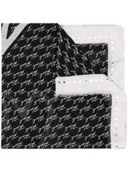 Karl Lagerfeld Logo Embroidered Scarf Black