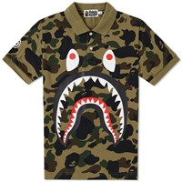 A Bathing Ape 1St Camo Shark Polo Green