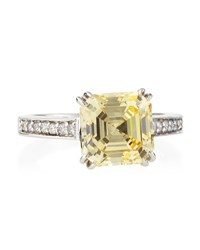 Fantasia Canary Cz Asscher Cut Ring