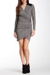 Autograph Addison Faux Leather Detail Knit Dress Gray