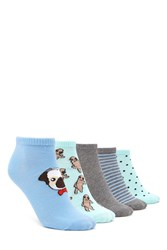 Forever 21 Pug Print Ankle Socks 5 Pack Mint Multi