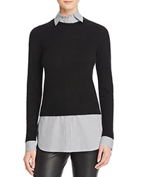 Bloomingdale's C By Cashmere Striped Layered Look Sweater Black Stripes