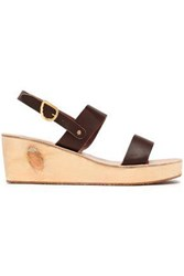 Ancient Greek Sandals Clio Leather Wedge Chocolate