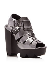 Mia Luka Peep Toe Platform High Heel Sandals Compare At 79 Gunmetal