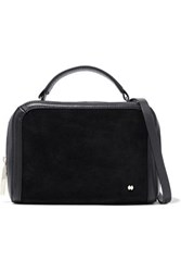 Halston Faux Suede Paneled Leather Shoulder Bag Black