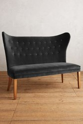 Anthropologie Velvet Wingback Bench Armless Charcoal