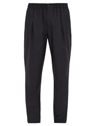Giorgio Armani Pleated Front Wool And Cashmere Blend Trousers Navy