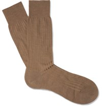 Pantherella Laburnum Ribbed Merino Wool Blend Socks Brown