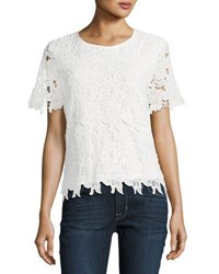 Chelsea And Theodore Floral Lace Crew Neck Top White