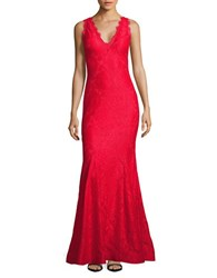 Betsy And Adam Lace Mermaid Gown Red