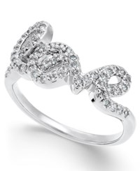 Joan Boyce Crystal Love Script Ring White