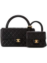 Chanel Vintage Set Of Two Quilted Totes Black