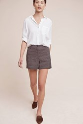 Anthropologie Buttoned High Rise Shorts Green Motif