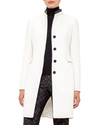 Akris Punto Faux Leather Collar Long Coat Cream Black Cream Blac