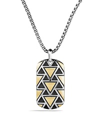 David Yurman Frontier Tag Necklace With 18K Gold Silver Gold
