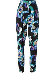 Msgm Snake Print Trousers Blue