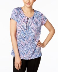 Ny Collection Printed Hardware Blouse Multi Dot Chevron Print