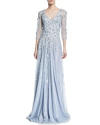Theia Floral Tulle Applique V Neck Gown Sky