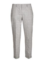 Topman Grey Check Linen Blend Skinny Fit Suit Trousers