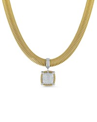 Alor Spring Coil Cable And Pave Diamond Pendant Necklace Yellow