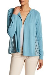 Lafayette 148 New York Relaxed Lace Back Cardigan Blue