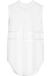 Alexander Wang Suspended Zebra Mesh Stretch Knit Top White