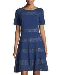 Jax Short Sleeve Mesh Inset Fit And Flare Dress Blue