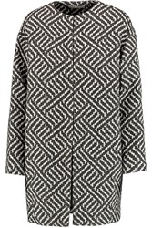 Alice Olivia Cotton Blend Jacquard Coat Black