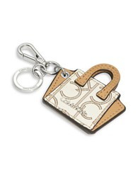 Calvin Klein Leather Purse Keychain Almond Khaki Camel