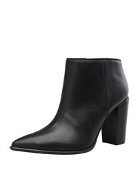 Carrano Noemi Leather Pointed Toe Bootie Black