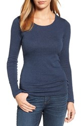 Caslonr Women's Caslon Long Sleeve Scoop Neck Cotton Tee Heather Navy