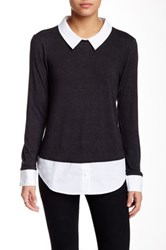Zoa Long Sleeve Twofer Sweater Gray