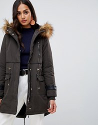 New Look Faux Fur Lined Parka Green
