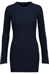Maje Bow Detailed Ribbed Cotton And Wool Blend Sweater Midnight Blue
