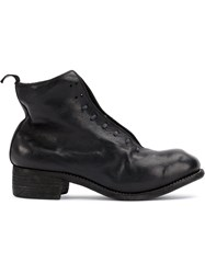 Guidi Slouched Lace Up Ankle Boots Horse Leather Black