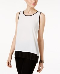 Cable And Gauge Contrast Trim Tank Top Ivory Black