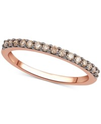 Macy's Black Or Brown Diamond Band 1 4 Ct. T.W. In 14K White Rose Or Yellow Gold Rose Gold