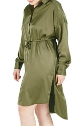 Elvi Plus Size Women's Embroidered Bird Satin Shirtdress Khaki
