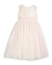 Joan Calabrese Sequin Tulle Special Occasion Dress Ivory Size 4 14