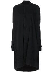 Rick Owens Lilies Fitted Sleeves Oversized Coat Viscose Angora Wool Polyimide Black