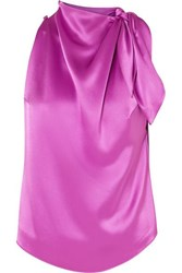 Nanushka Avalon Draped Satin Top Fuchsia