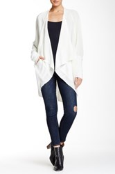 Sweet Romeo Open Front Mesh Stitch Cardigan White