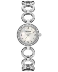 Bulova Women's Crystal Accent Stainless Steel Bangle Bracelet Watch And Necklace Box Set 30Mm 96X137 No Color