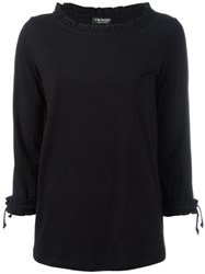 Twin Set Frill Boat Neck Sweatshirt Black