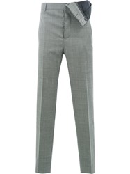 Y Project Plaid Slim Fit Trousers Grey