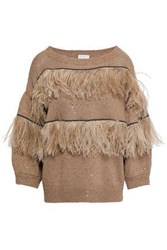Brunello Cucinelli Feather Trimmed Embellished Cotton Linen And Silk Sweater Sand