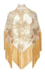 Martha Medeiros Embroidered Shawl With Fringe Trim Gold