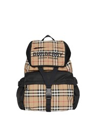 Burberry Logo Print Vintage Check Backpack Yellow